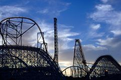 Coaster Heaven. Silhouette of multiple roller coasters featuring 100, ~300, and ~400 foot drops Stock Images