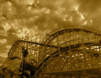Coaster. The joy and excitement. but also the beauty of a old retro wooden roller coaster Stock Photography