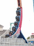 Coaster in limbo. The Kemah coaster in the middle of a loop Stock Photo