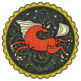 Coaster, red galloping unicorn and stars. Coaster, red galloping unicorn on decorative background dark sky with stars with shining horn with light mane and tail Stock Photo