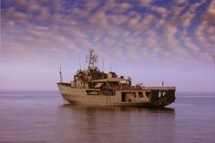 Coastguard anchored Royalty Free Stock Photo