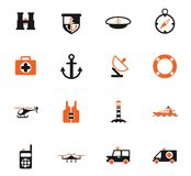 Coastguard icon set stock illustration