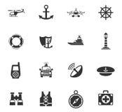 Coastguard icon set. Coastguard web icons for user interface design Royalty Free Stock Photos