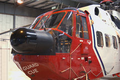 Coastguard Rescue Helicopter. Oscar Charlie in hangar at Sumburgh airport - Shetland Islands Stock Image