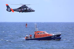 Coastguard rescue mission in progress Stock Images