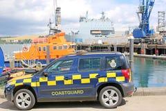 Coastguard Van. Coastgauard van and lifeboat in Falmouth Harbour Royalty Free Stock Images