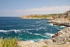 Coastine landskap i Salento, Apulia. Italien Royaltyfri Fotografi