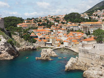 The Coastine and Wall of Dubrovnik, Croatia Royalty Free Stock Photo