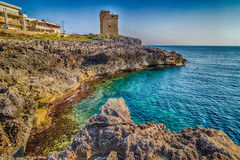 Coasting tower in Salento on the Ionian Sea. In Italy,  Marina Serra Tricase, Lecce, Apulia Royalty Free Stock Images