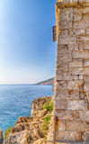 Coasting tower in Salento on the Ionian Sea. In Italy,  Marina Serra Tricase, Lecce, Apulia Royalty Free Stock Photo