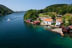 Coastline. In Norwegian fjords, Scandinavia, Europe Royalty Free Stock Images