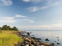 Coastline. With contrasty blue sky Stock Image
