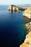 Coastline. Rocky coastline in Lindos bay, Rhodes, Greece Royalty Free Stock Photo