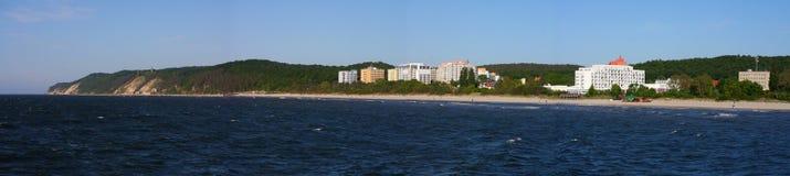 Coastline. Beach in Miedzyzdroje. Coast line of Wolin Island Royalty Free Stock Image
