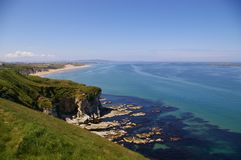 Coastline. View of cliffs, beach and sea of Northern Ireland's northern coastline Stock Photography