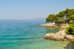 Coastline of adriatic sea. Podgora, Croatia Stock Image
