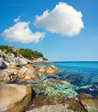 Coastline of Aegean sea in Sithonia, Chalkidiki, Northern Greec royalty free stock images