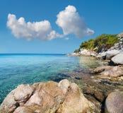Coastline of Aegean sea in Sithonia, Chalkidiki, Northern Greec stock images