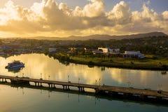 Coastline along city Saint John at Antigua island in Caribbean s Royalty Free Stock Images
