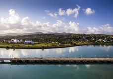 Coastline along city Saint John at Antigua island at Caribbean Stock Images