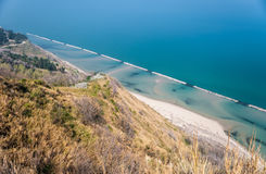 Coastline along the mount San Bartolo, near Pesaro Stock Photo