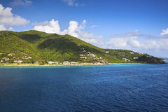 Coastline along a Road Town in Tortola. Caribbean sea. Coastline along a Road Town in Tortola. British Virgin Islands stock images