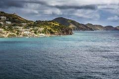Coastline along a Saint Kitts and Nevis island at Caribbean Royalty Free Stock Image