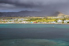Coastline along a Saint Kitts and Nevis island at Caribbean Stock Image