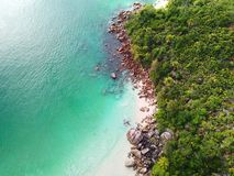 Coastline of Anse Lazio royalty free stock photo