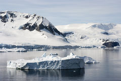 Coastline of Antarctica With Ice Formations Royalty Free Stock Images
