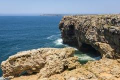 Coastline of Atlantic Ocean in Sagres, Portugal Royalty Free Stock Photo