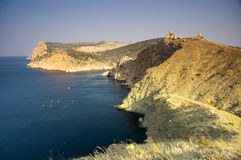 Coastline of Balaklava, Ukraine. Stitched Panorama, coastline of Balaklava, Crimea, Ukraine stock image