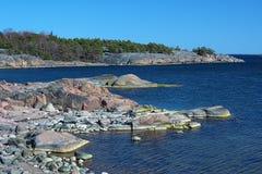 Coastline of Baltic Sea in Hanko, Finland Stock Images