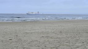 Coastline of the Baltic sea in Poland. With ferry stock video footage