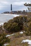 Coastline of Baltic sea with Sorve lighthouse on cape. The Saaremaa island, Estonia, Europe. Coastline of Baltic sea with Sorve lighthouse on cape. Saaremaa Royalty Free Stock Photo