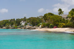 The coastline of Barbados. Residences as seen from a catamaran off the coastline of Barbados Royalty Free Stock Image