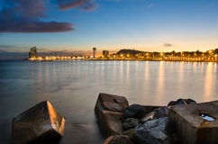Coastline of Barcelona, Spain. Coastline of Barcelona at sunset, Spain Stock Images