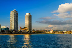 Coastline of Barcelona, Spain. Coastline of Barcelona on a sunny day  with a view of hotel towers, Spain Royalty Free Stock Image