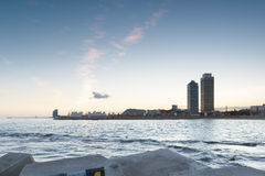 Coastline of Barcelona at sunset, Spain Stock Photos