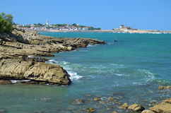 Coastline in the bay of Socoa at low tide Royalty Free Stock Photos