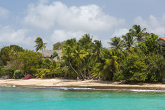 The coastline and beach of Barbados. As seen from a catamaran off the coastline of Barbados Stock Images