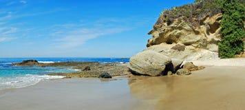 Coastline and beach below Montage Resort Laguna Beach, California. Panorama image shows the rocky coastline  and beach directly below the Montage Resort in Stock Photos