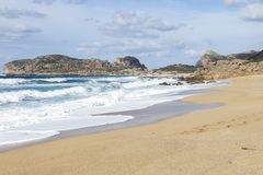 Coastline and beach at Falasarna in Crete royalty free stock images
