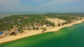 Coastline beach resort sea. Aerial shot stock footage