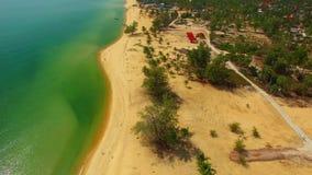 Coastline beach resort sea. Aerial shot stock video