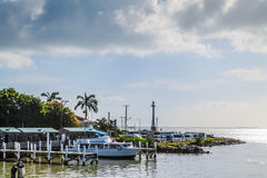 Coastline Belize Boat Docks royalty free stock images
