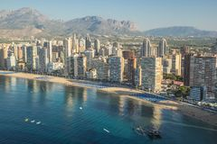 Coastline of a Benidorm. Aerial view of Benidorm, with beach and Stock Photography