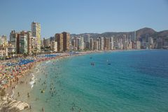 Coastline of a Benidorm. Aerial view of Benidorm, with beach and Royalty Free Stock Photo