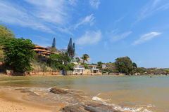 Coastline, buildings, sea, beach in Buzios,  Rio de Janeiro, Bra Royalty Free Stock Photography