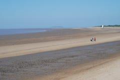 Coastline at Burnham-on-Sea, UK. View at coastline during low tide at Burnham-on-Sea, UK Stock Images